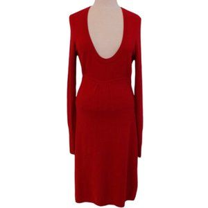 BCBG Scoop Neck Knit Red Long Sleeve Dress- Sz. M